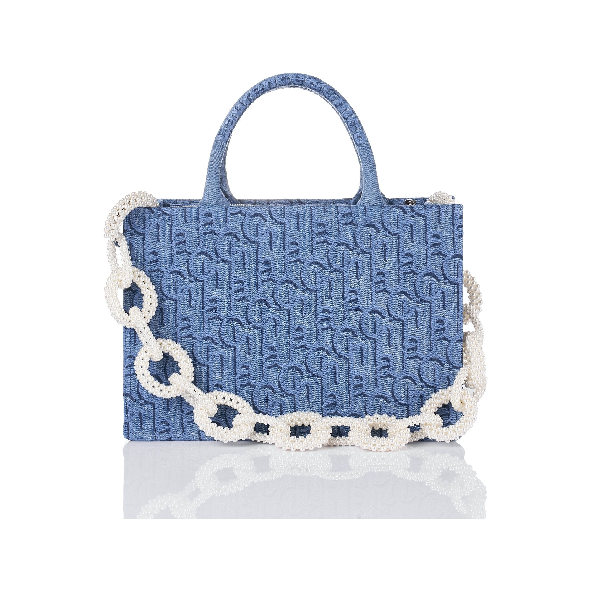 Laurence & Chico Laulau Chichi Jacquard Medium Square Tote Light Blue | MADA IN CHINA