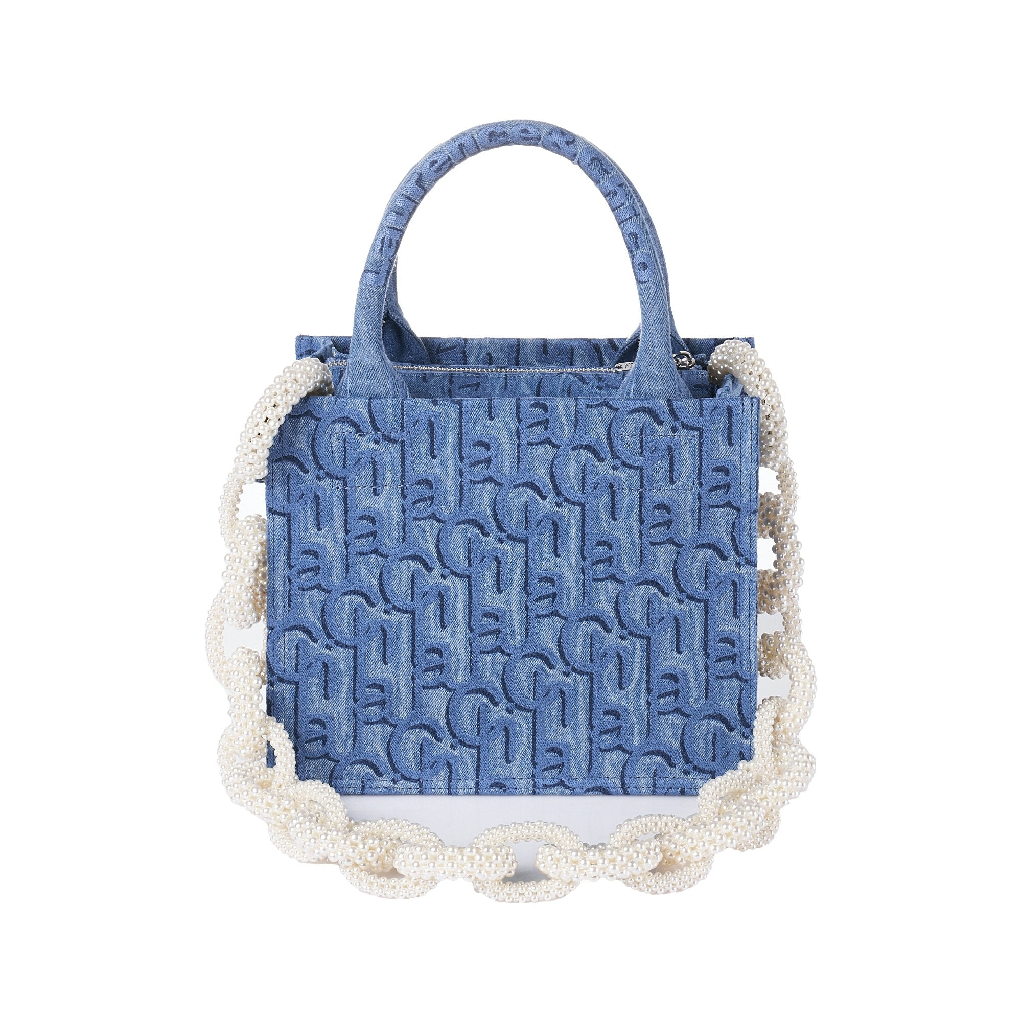 Laurence & Chico Laulau Chichi Jacquard Small Square Tote Light Blue | MADA IN CHINA