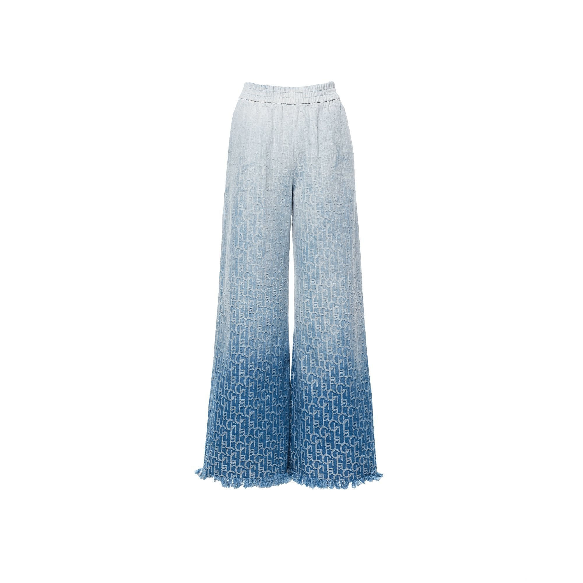 Laurence & Chico LauLau ChiChi Ombre Denim Jacquard Flared Trousers | MADA IN CHINA