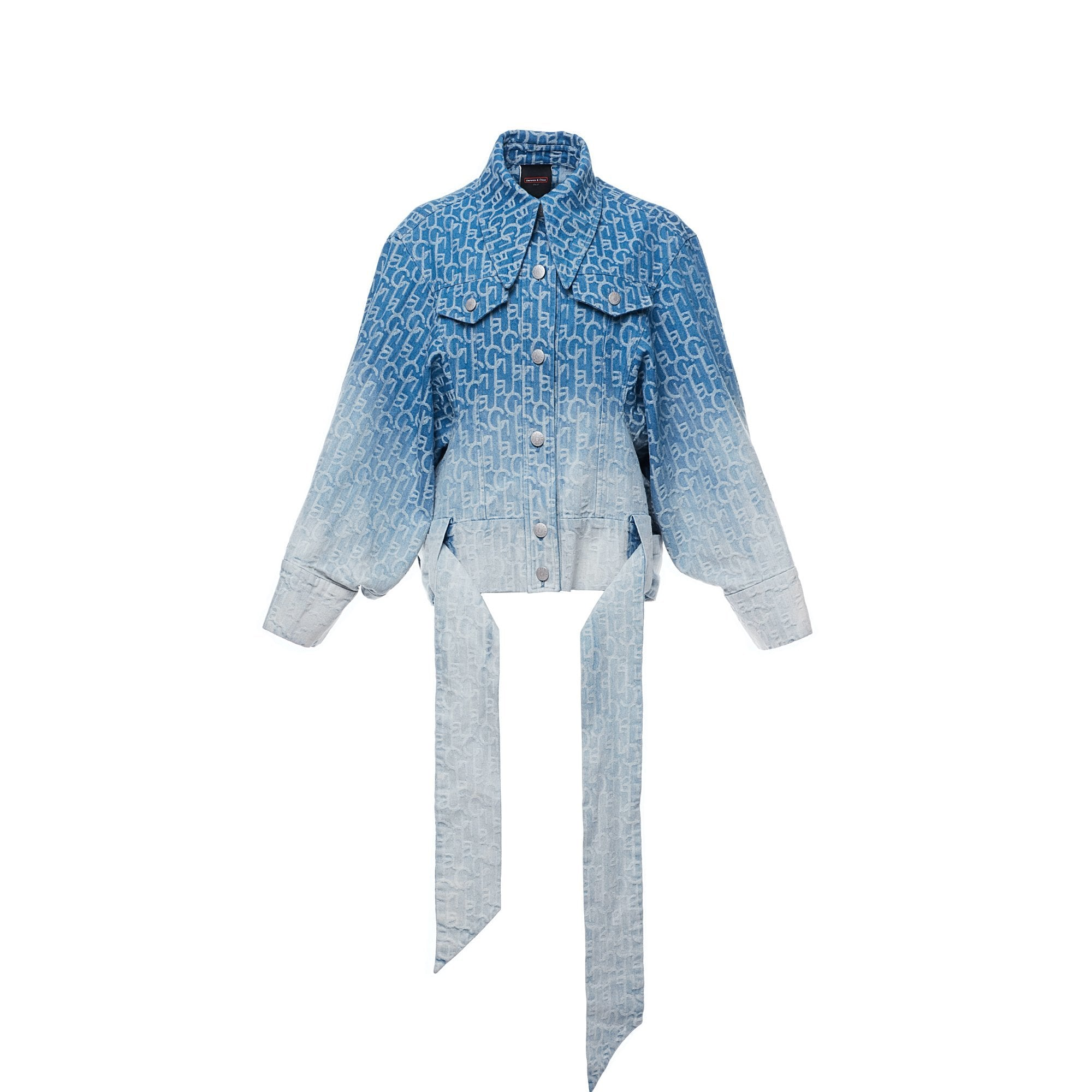 Laurence & Chico Laulau Chichi Ombre Denim Jacquard Oversized Jacket | MADA IN CHINA