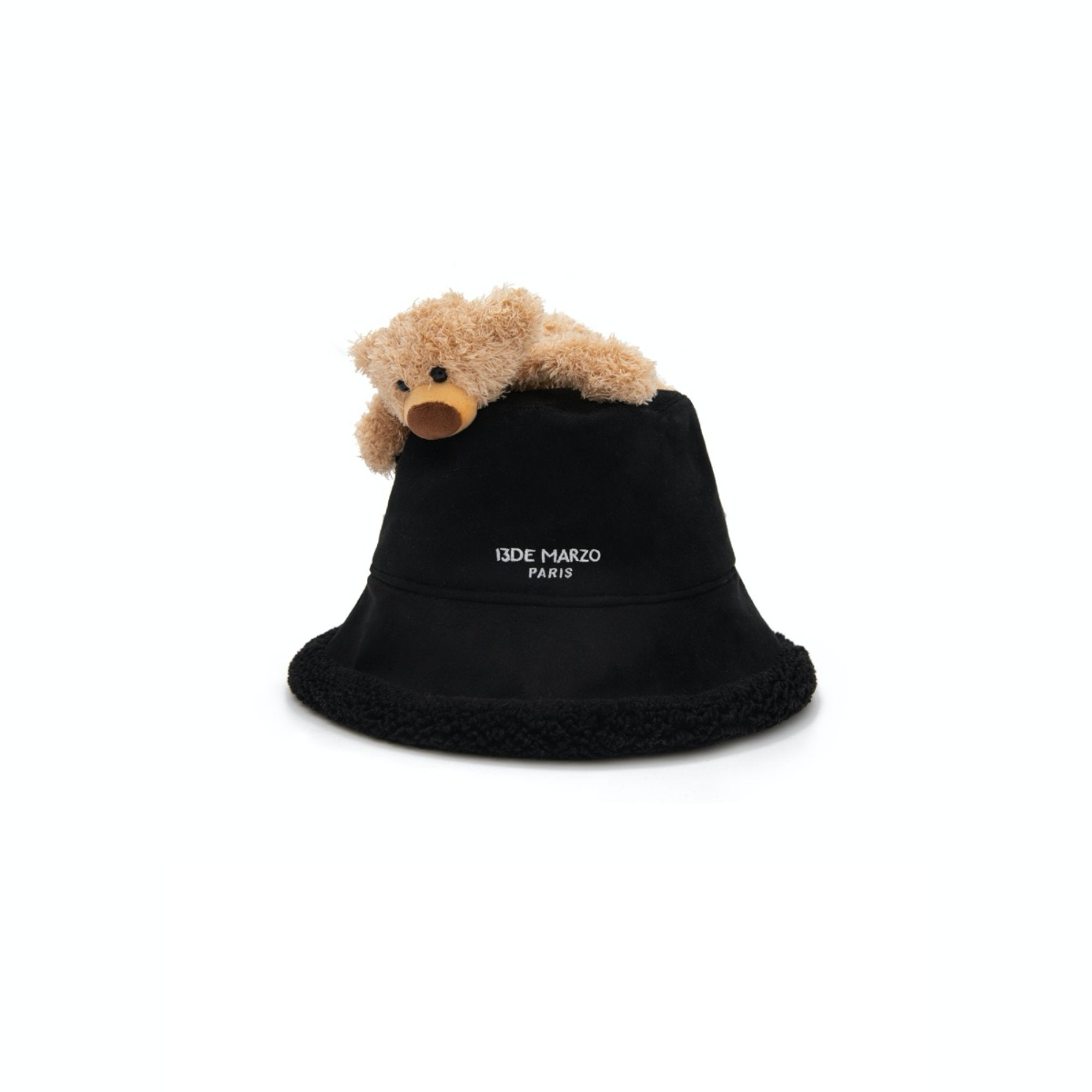 13 DE MARZO Lazy Teddy Bear Both-side Bucket Hat Black | MADA IN CHINA