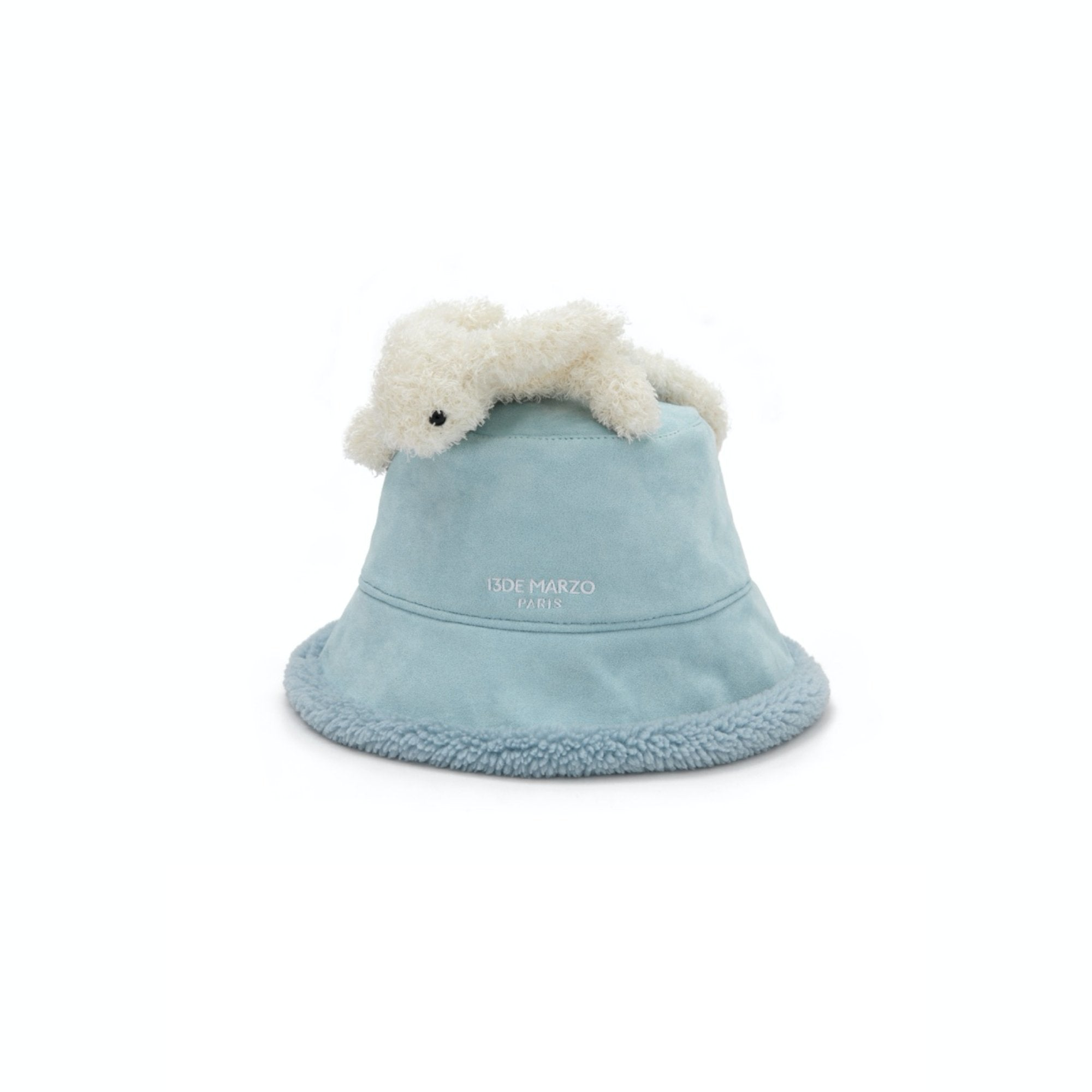 13 DE MARZO Lazy Teddy Bear Both-side Bucket Hat Blue | MADA IN CHINA