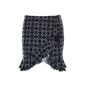 Laurence & Chico LC Logo Denim Jacquard Asymmetrical Skirt | MADA IN CHINA