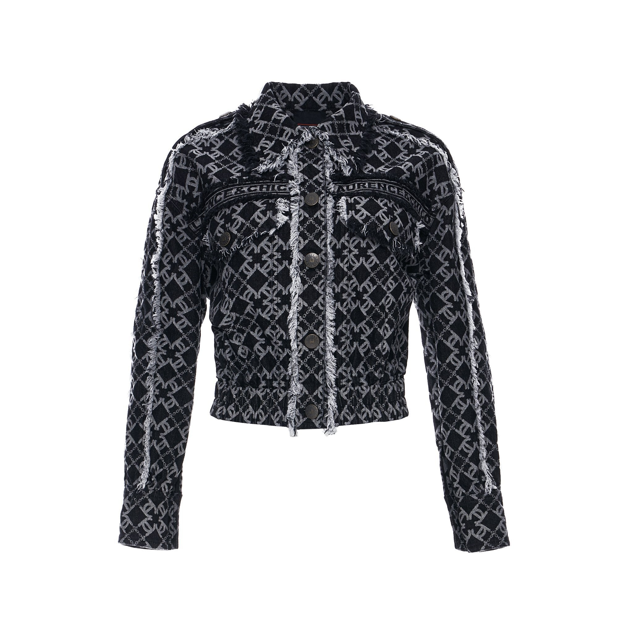 Laurence & Chico LC Logo Denim Jacquard Cropped Jacket | MADA IN CHINA
