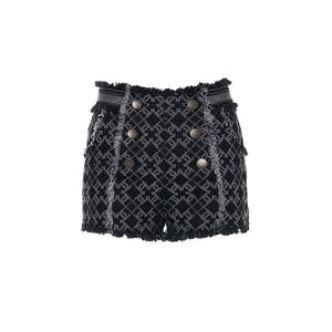 Laurence & Chico LC Logo Denim Jacquard Shorts | MADA IN CHINA