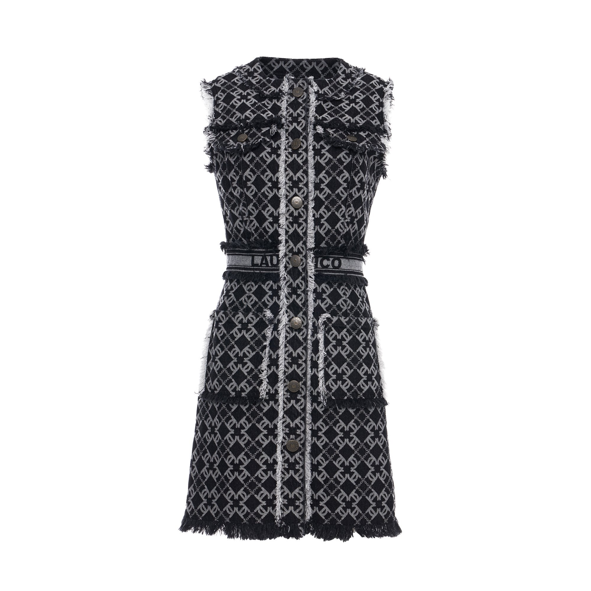 Laurence & Chico LC Logo Denim Jacquard Sleeveless Vest Dress | MADA IN CHINA