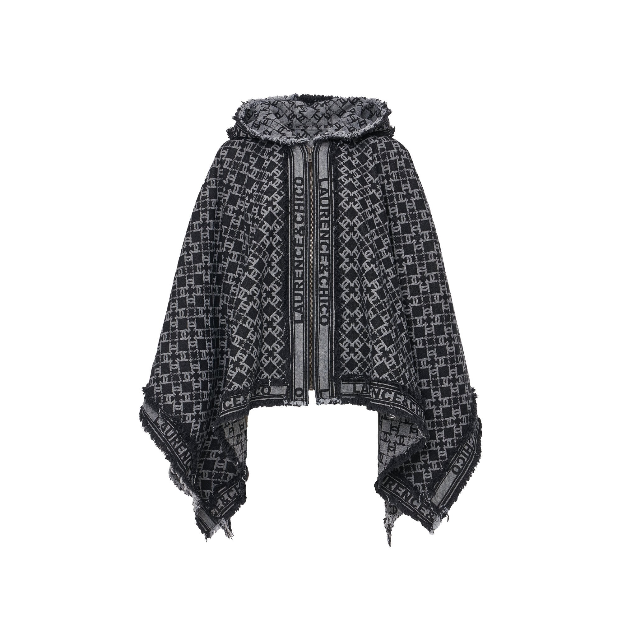 Laurence & Chico LC Logo Hoodie Poncho With Zipper | MADA IN CHINA
