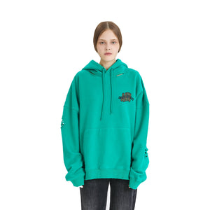 ANN ANDELMAN Leopard Logo Hoodie Green | MADA IN CHINA