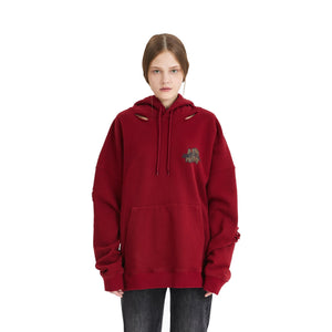 ANN ANDELMAN Leopard Logo Hoodie Red | MADA IN CHINA