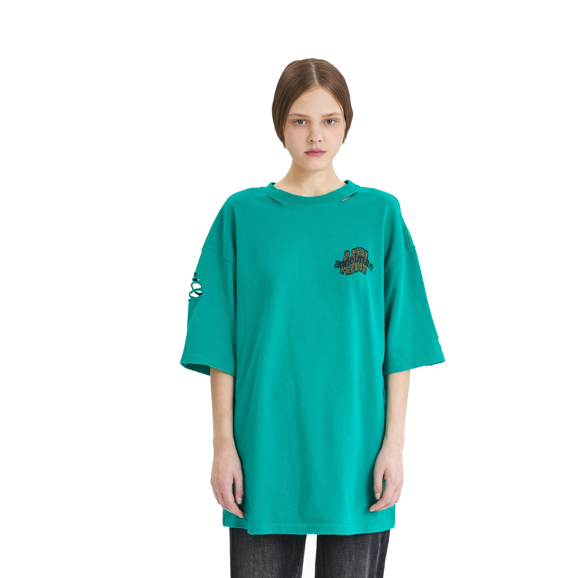 ANN ANDELMAN Leopard Logo Tee Green | MADA IN CHINA