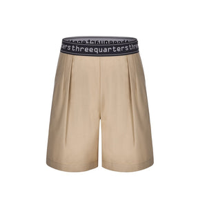 THREE QUARTERS Letter Logo Shorts Khaki | MADA IN CHINA
