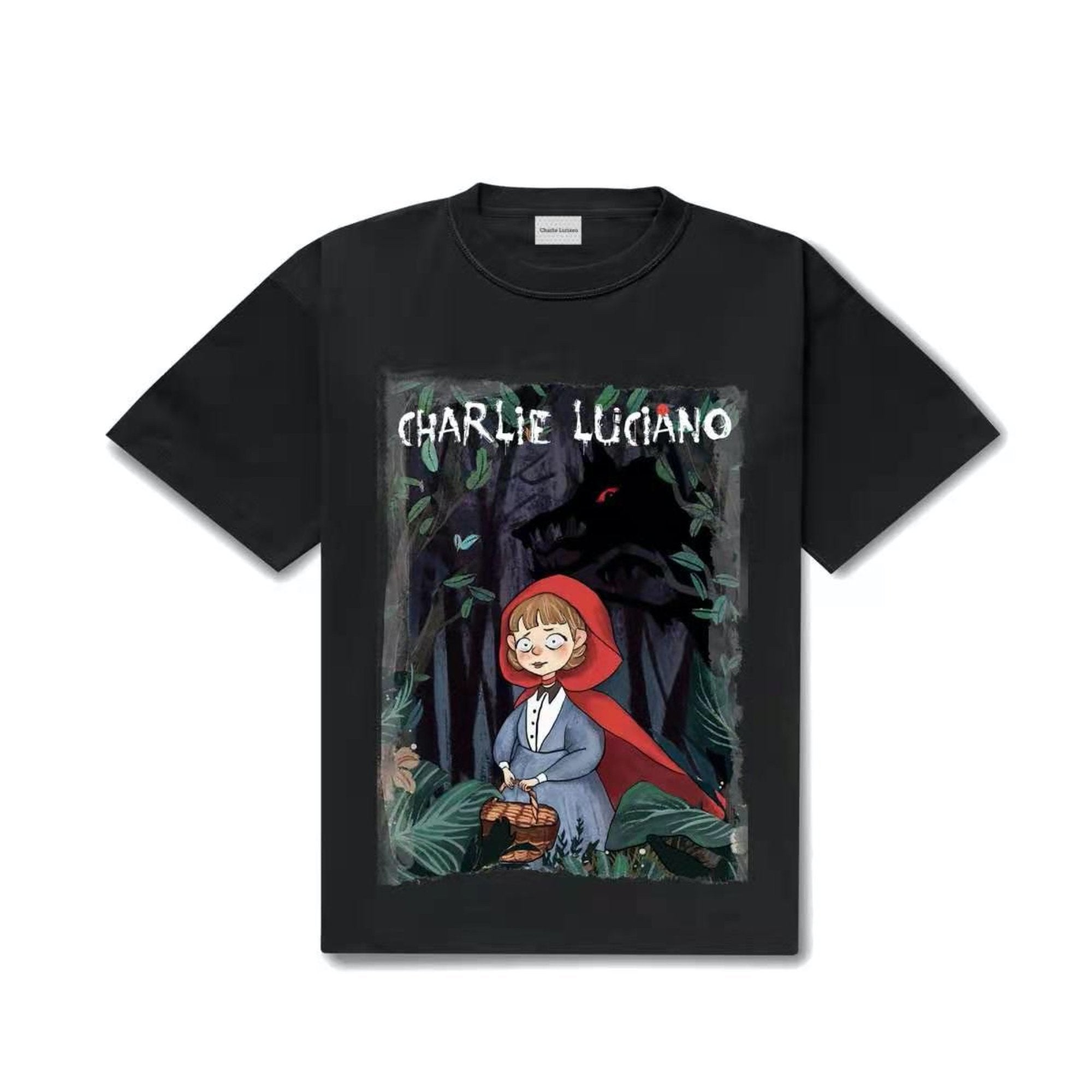 CHARLIE LUCIANO Little Red Riding Hood Print Tee Black | MADA IN CHINA