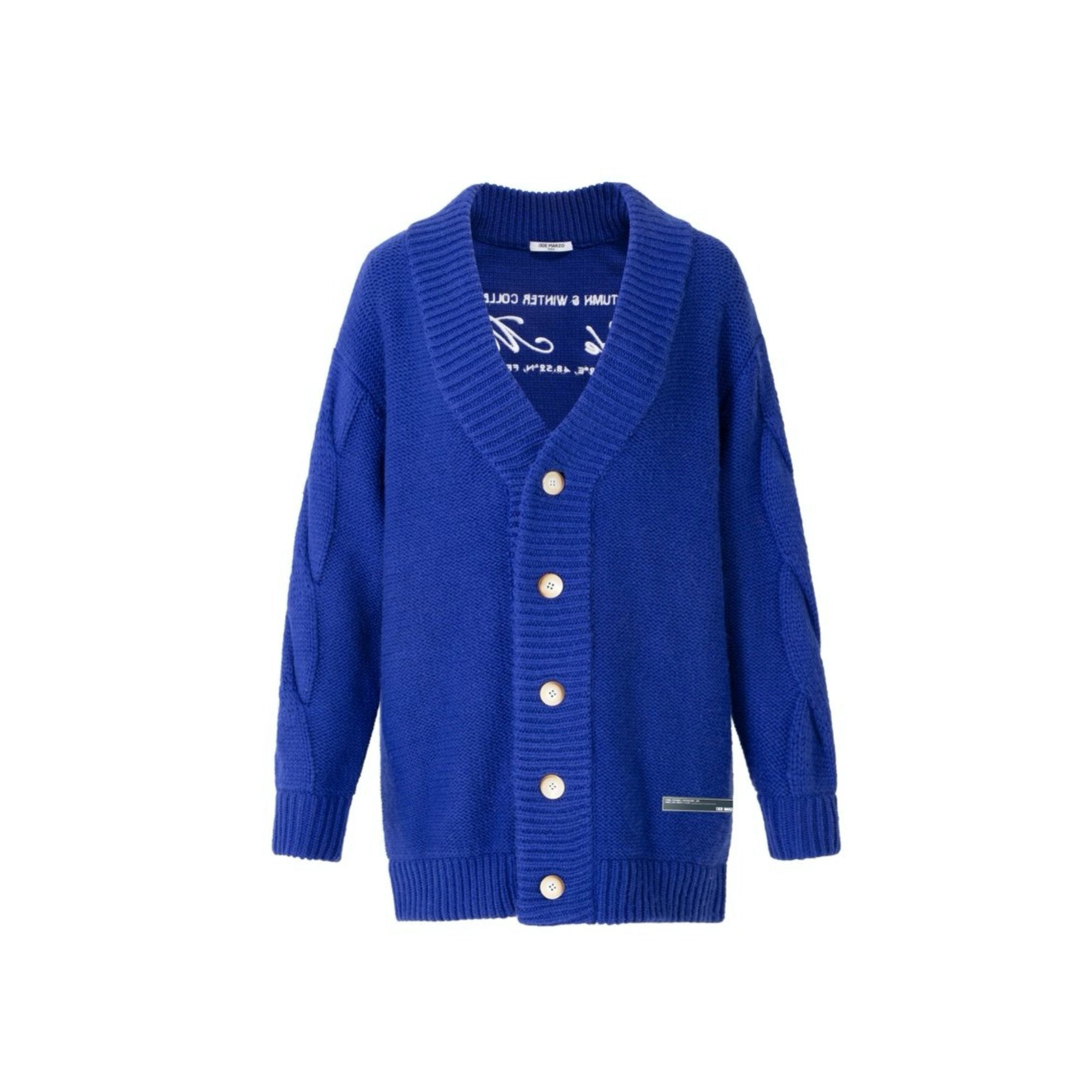 13 DE MARZO Logo Embroidered Cardigan Blue | MADA IN CHINA