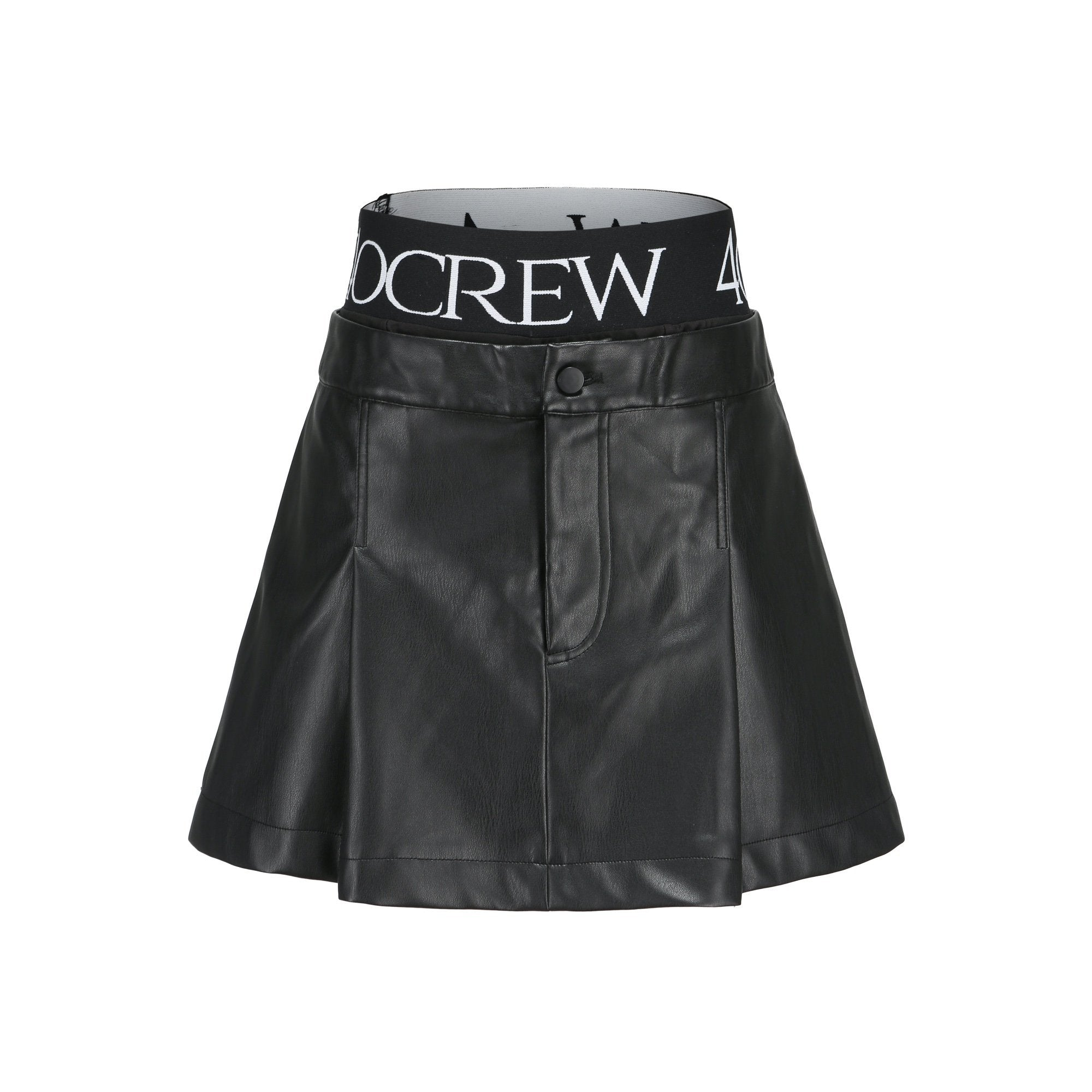 40 CREW Logo Leather Skirt | MADA IN CHINA