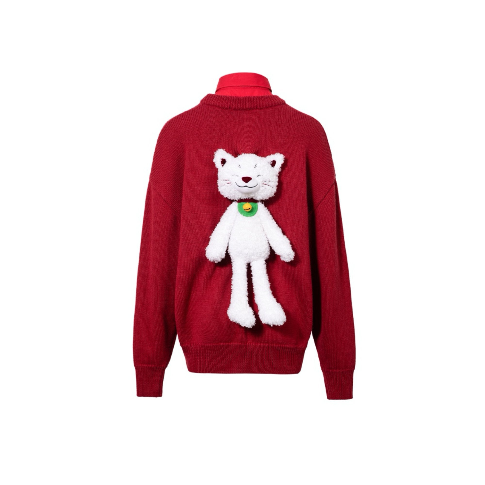 13 DE MARZO Lucky Kitten Sweater Chinese Red | MADA IN CHINA