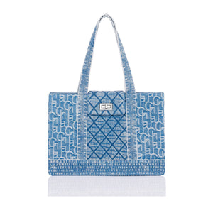 Laurence & Chico Medium Washed Denim Tote Light Blue | MADA IN CHINA