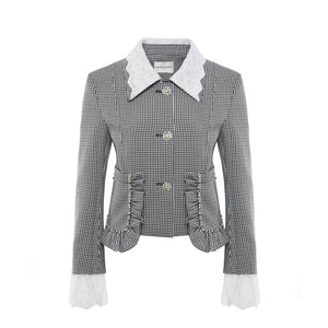 DIANA VEVINA Micro-Check Blazer Jacket | MADA IN CHINA