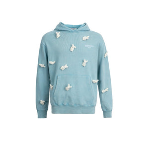 13 DE MARZO Mini Rabbit Cover Washed Hoodie Blue | MADA IN CHINA