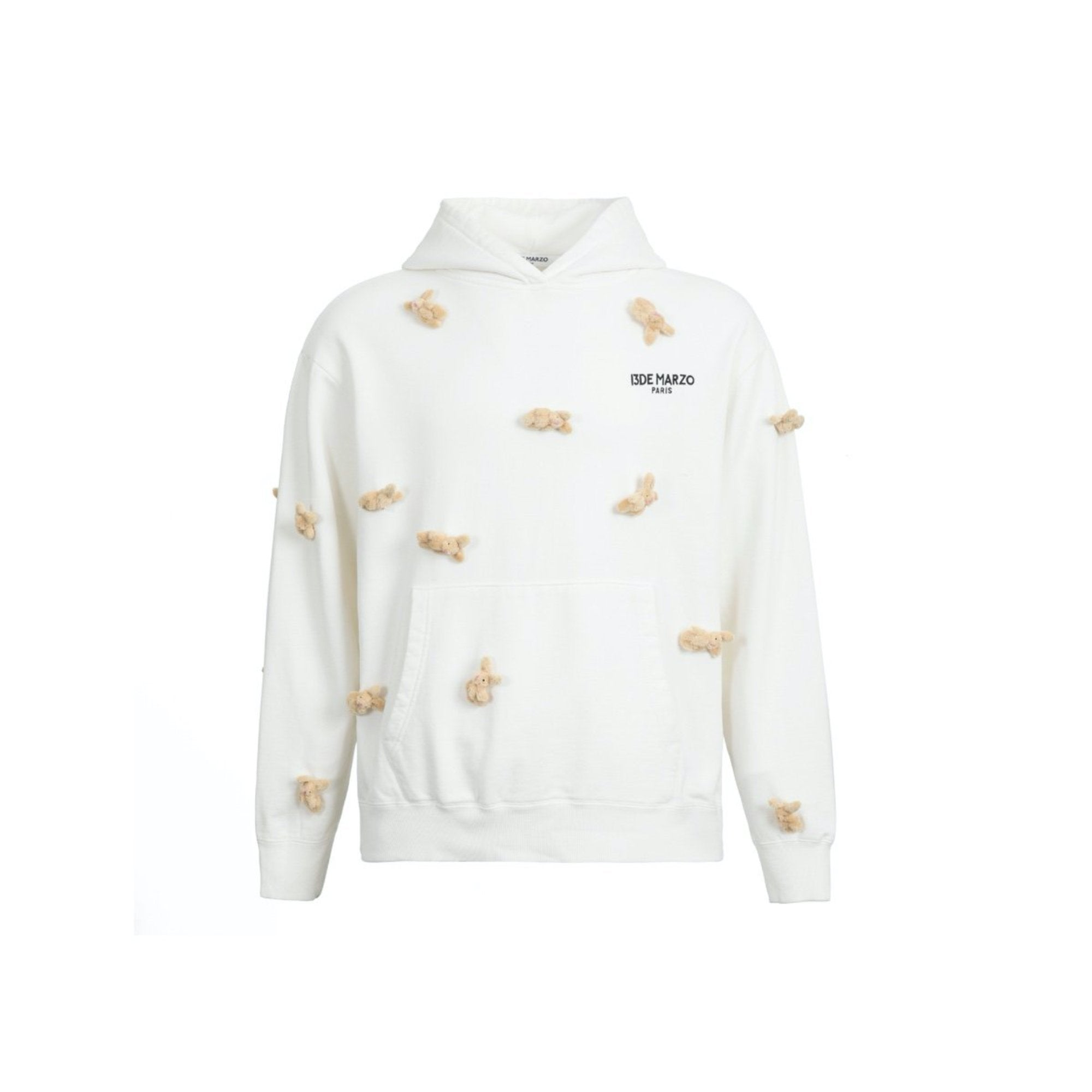 13 DE MARZO Mini Rabbit Cover Washed Hoodie White | MADA IN CHINA