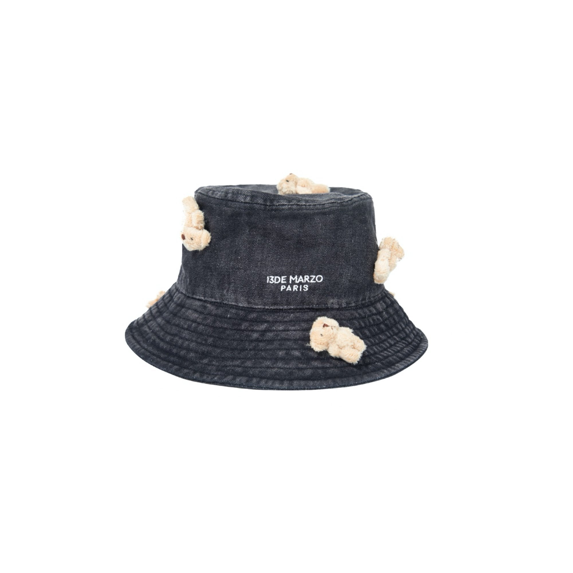 13 DE MARZO Mini Teddy Bear Denim Bucket Hat Washed Black | MADA IN CHINA