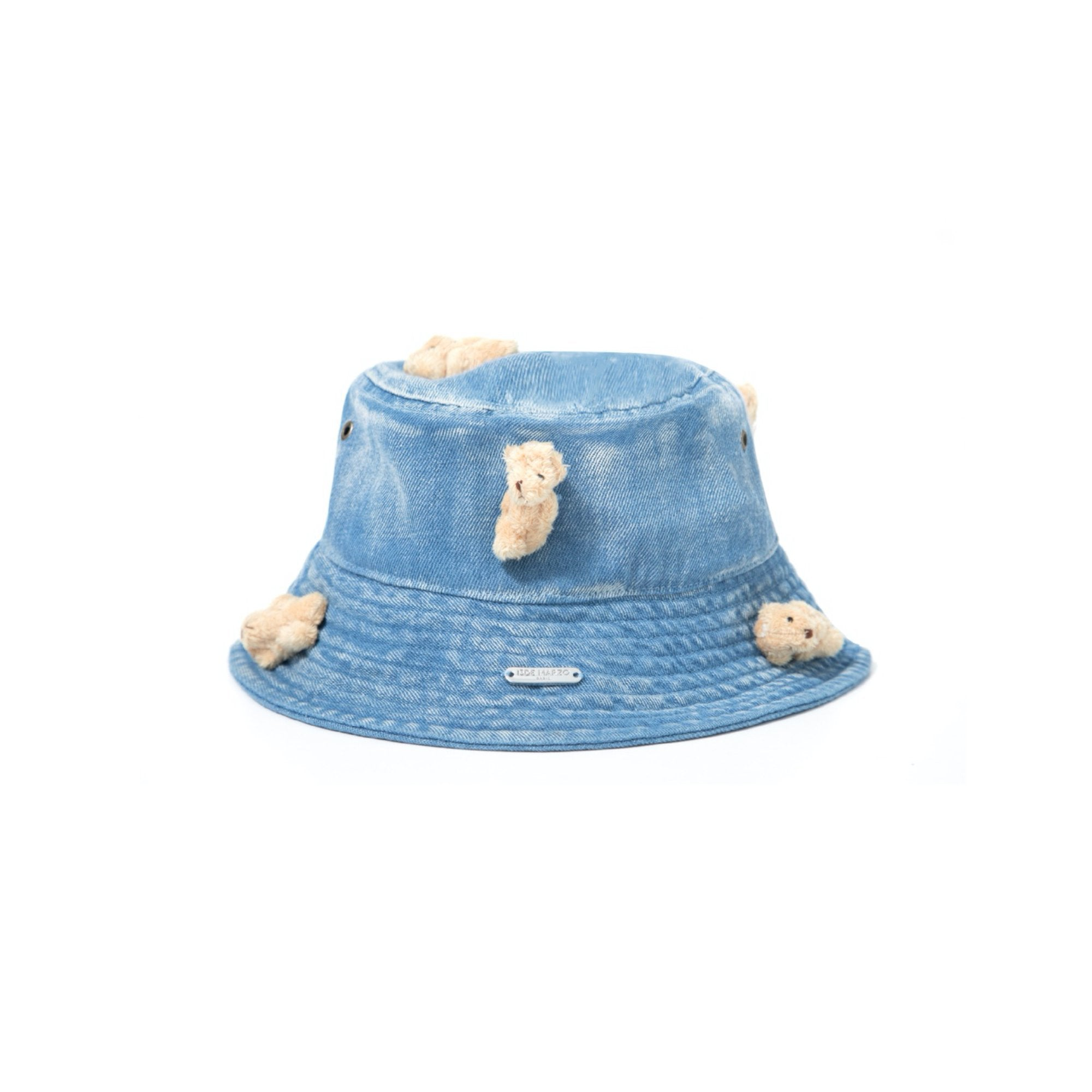 13 DE MARZO Mini Teddy Bear Denim Bucket Hat Washed Blue | MADA IN CHINA
