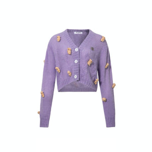 13 DE MARZO Mini Teedy Bear Cover Cardigan Lavender | MADA IN CHINA