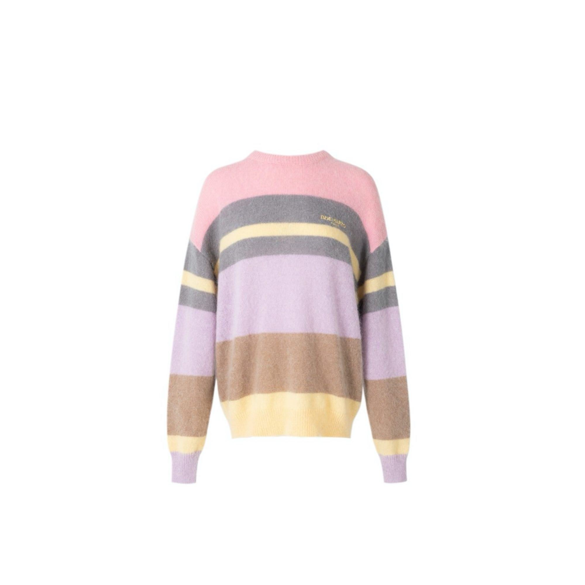 13 DE MARZO Mohair Strip Sweater Orchid Bloom | MADA IN CHINA