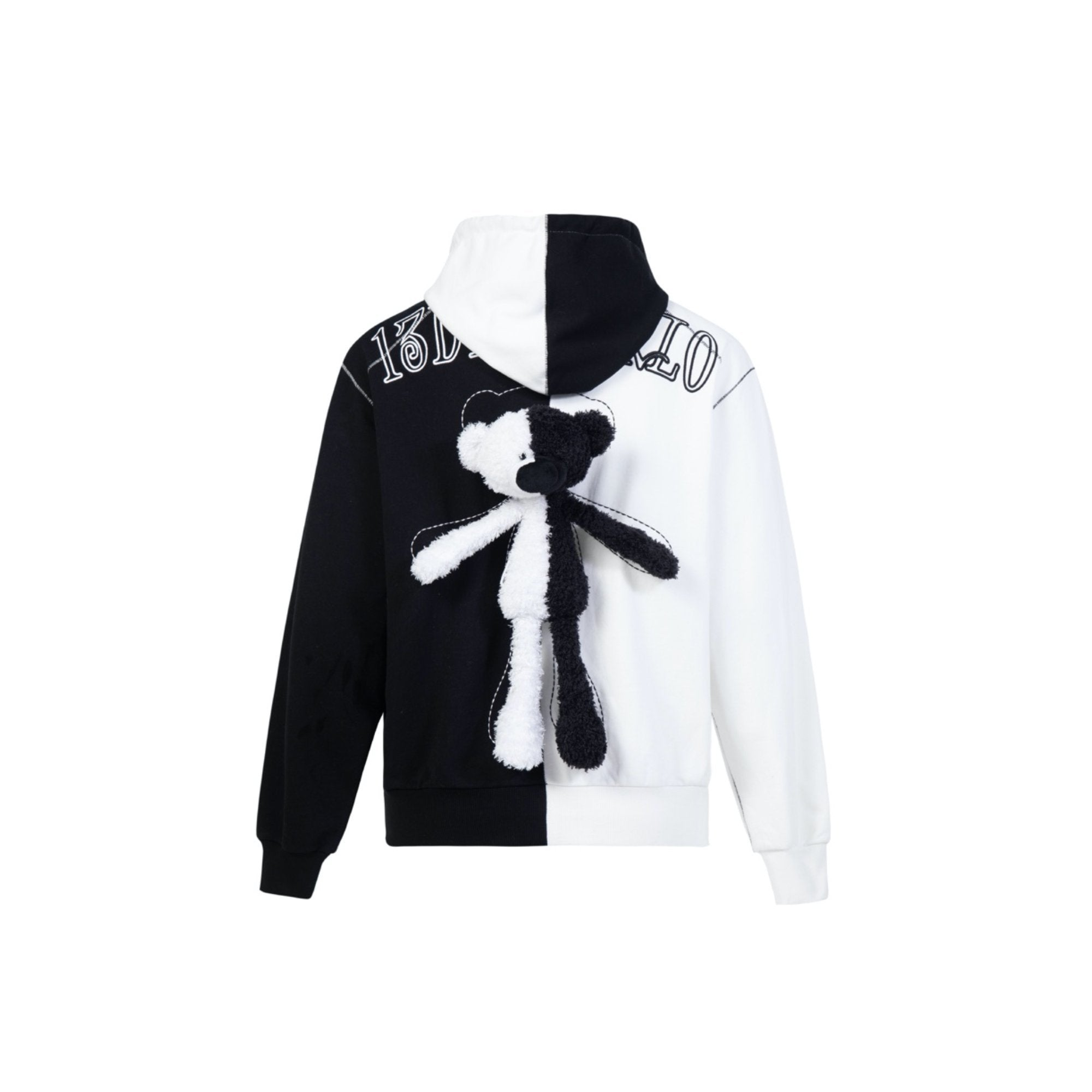 13 DE MARZO Monochrome Teddy Bear Patchwork Hoodie | MADA IN CHINA