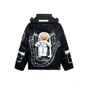 13 DE MARZO NASA Astronaut Teddy Bear Painted Down Jacket Black | MADA IN CHINA