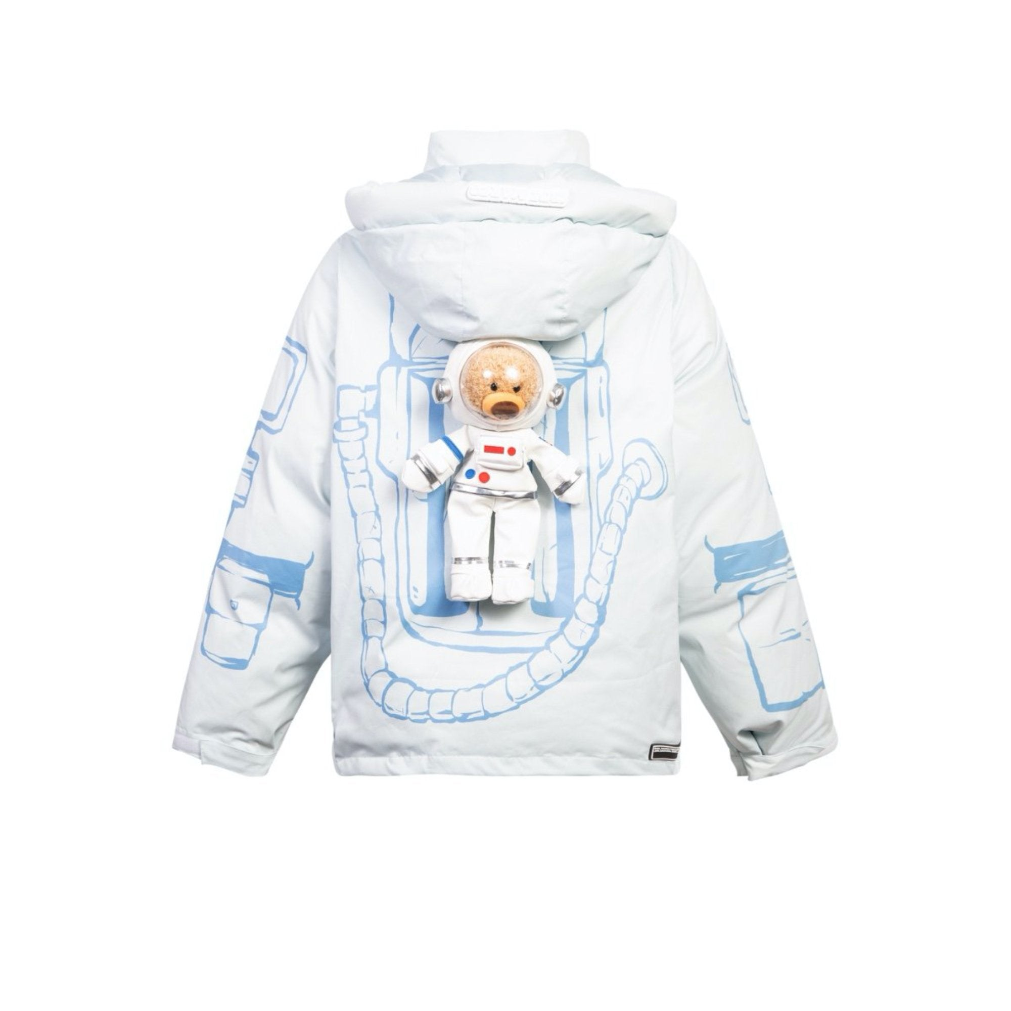 13 DE MARZO NASA Astronaut Teddy Bear Painted Down Jacket Blue | MADA IN CHINA
