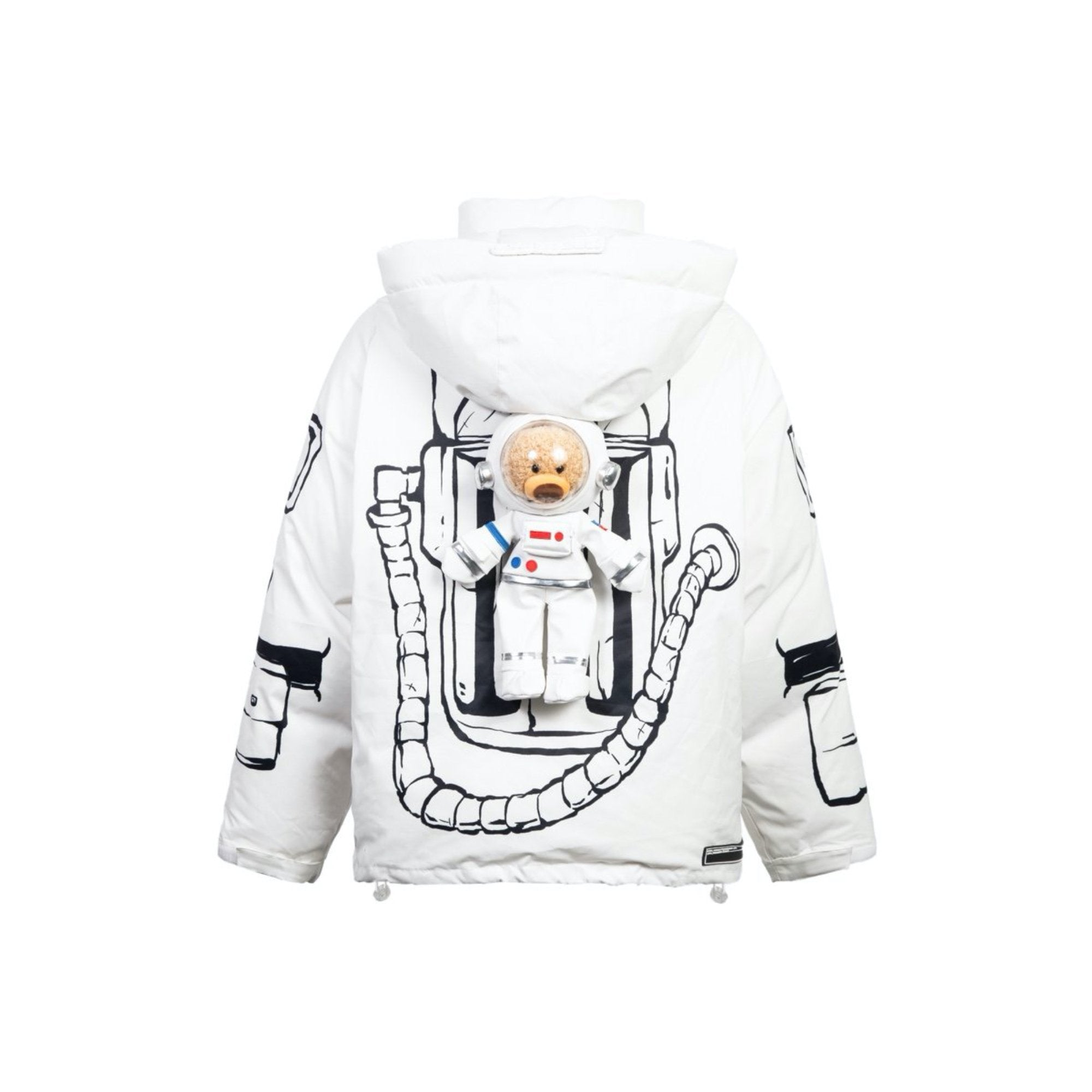 13 DE MARZO NASA Astronaut Teddy Bear Painted Down Jacket White | MADA IN CHINA