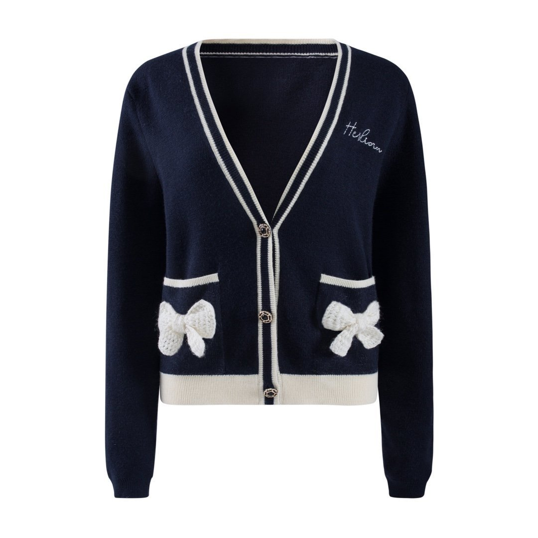 HERLIAN Navy Blue Bowknot Cardigan | MADA IN CHINA