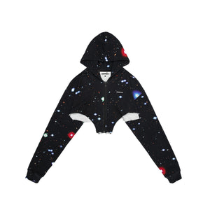 MAYHEM Nervis Black Galaxy Print Crop Hoodie | MADA IN CHINA