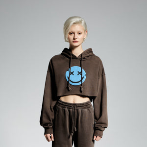 MAYHEM Nervis Brown Puff-Print Cropped Hoodie | MADA IN CHINA