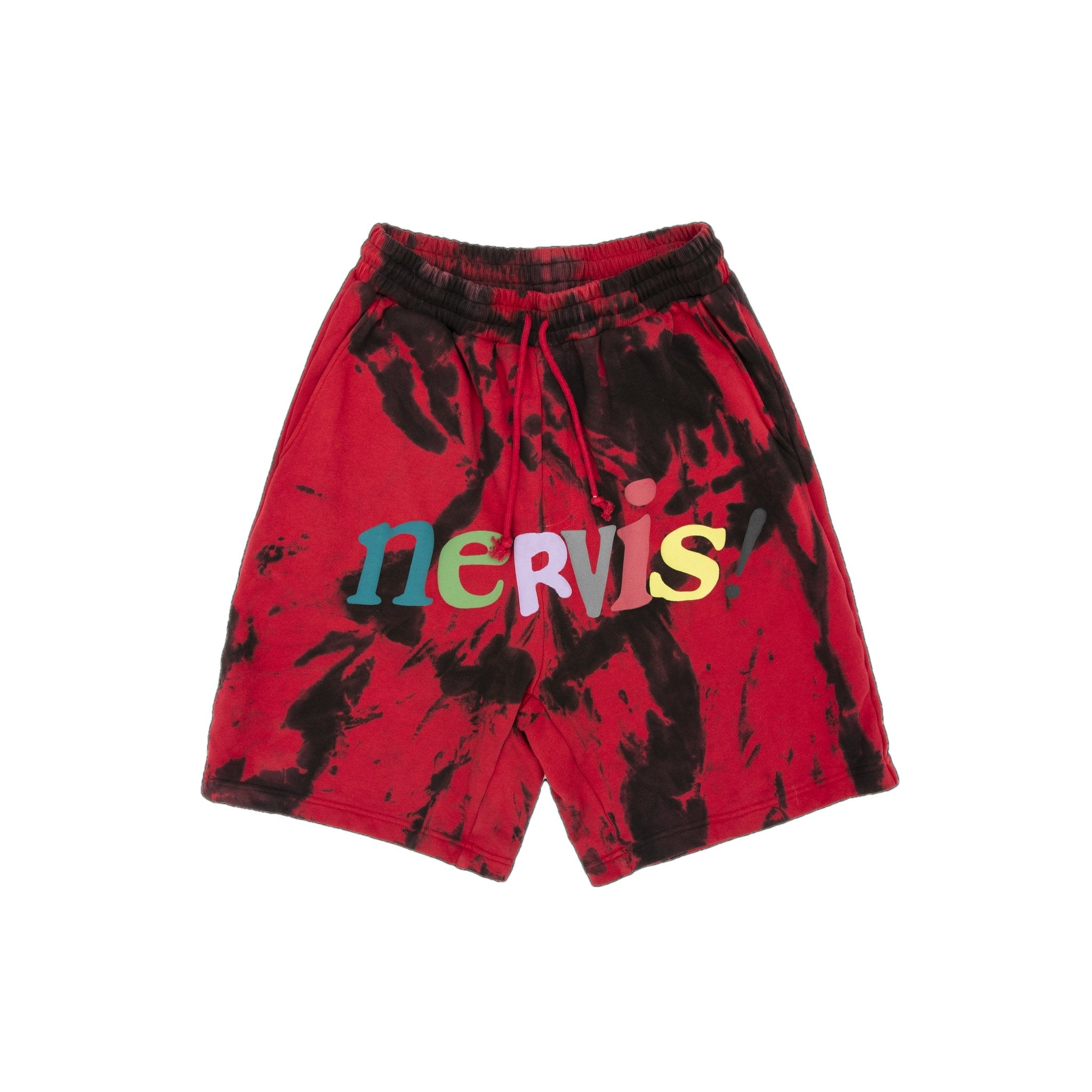 MAYHEM Nervis Red Tie-Dye Puff-Print Short | MADA IN CHINA
