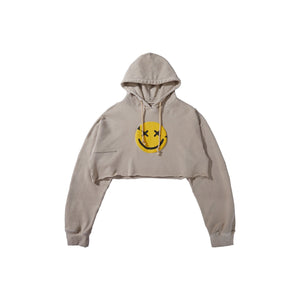 MAYHEM Nervis Tan Puff-Print Cropped Hoodie | MADA IN CHINA
