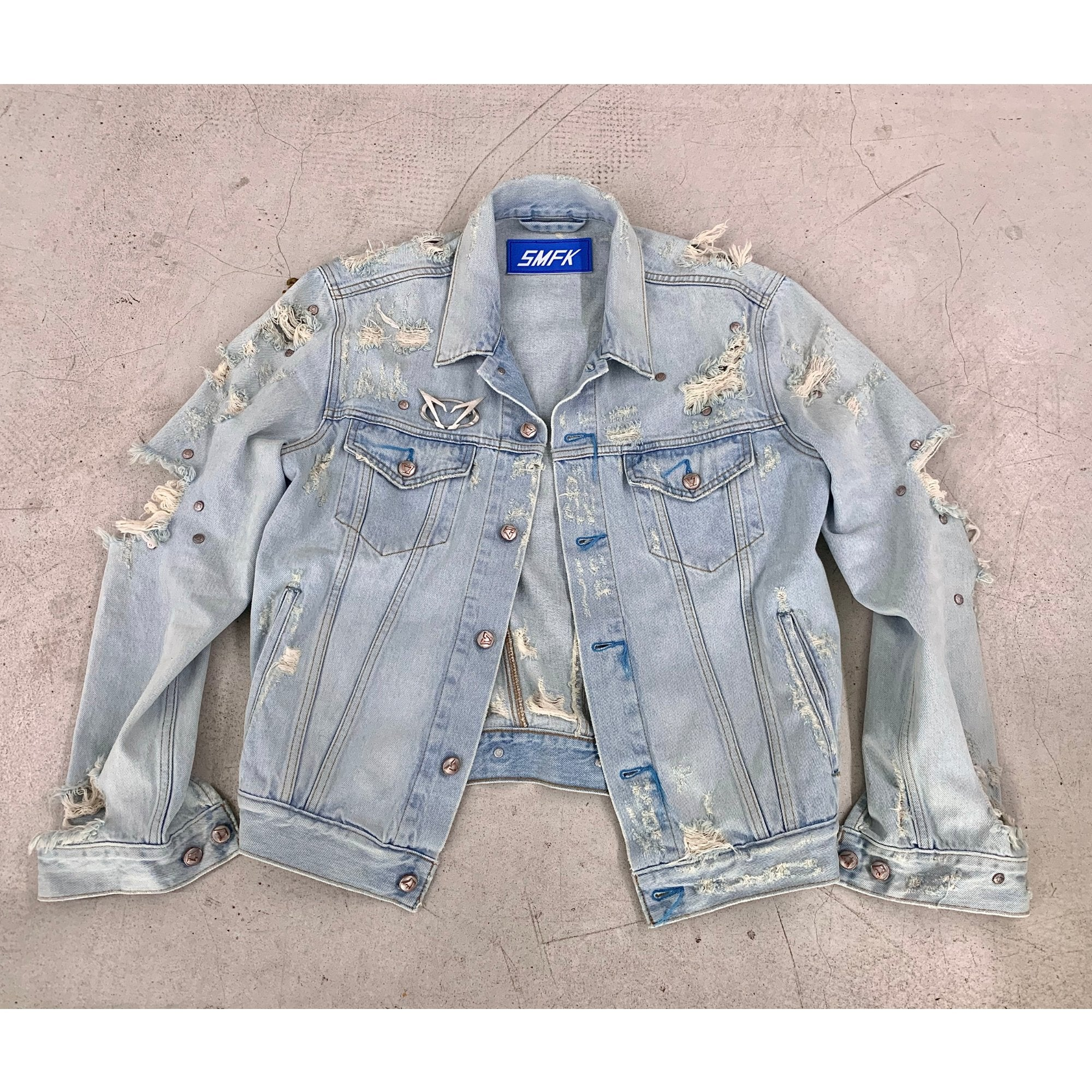 SMFK Nirvana Destroyed Denim Jacket Blue | MADA IN CHINA