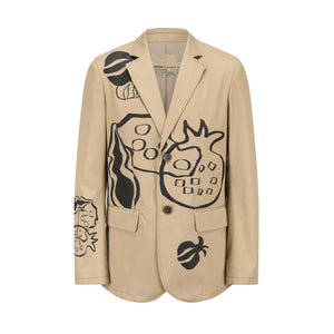 GARÇON BY GÇOGCN Painted Pomegranate Khaki Blazer Jacket | MADA IN CHINA