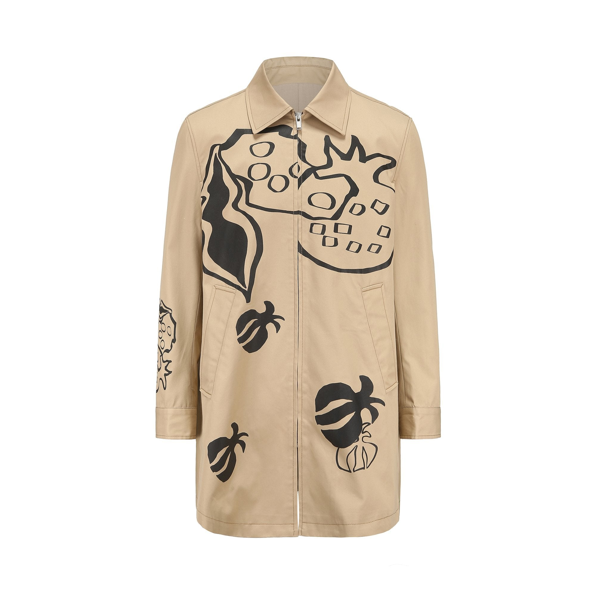 GARÇON BY GÇOGCN Painted Pomegranate Khaki Trench Coat | MADA IN CHINA