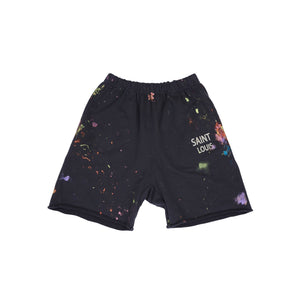 SAINT LOUIS Painted Sweat Shorts Black | MADA IN CHINA