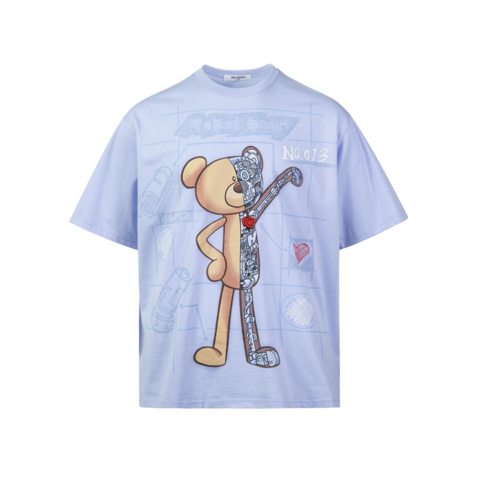 13 DE MARZO Palda Bear Robot Illustrated Tee Kentucky Blue | MADA IN CHINA