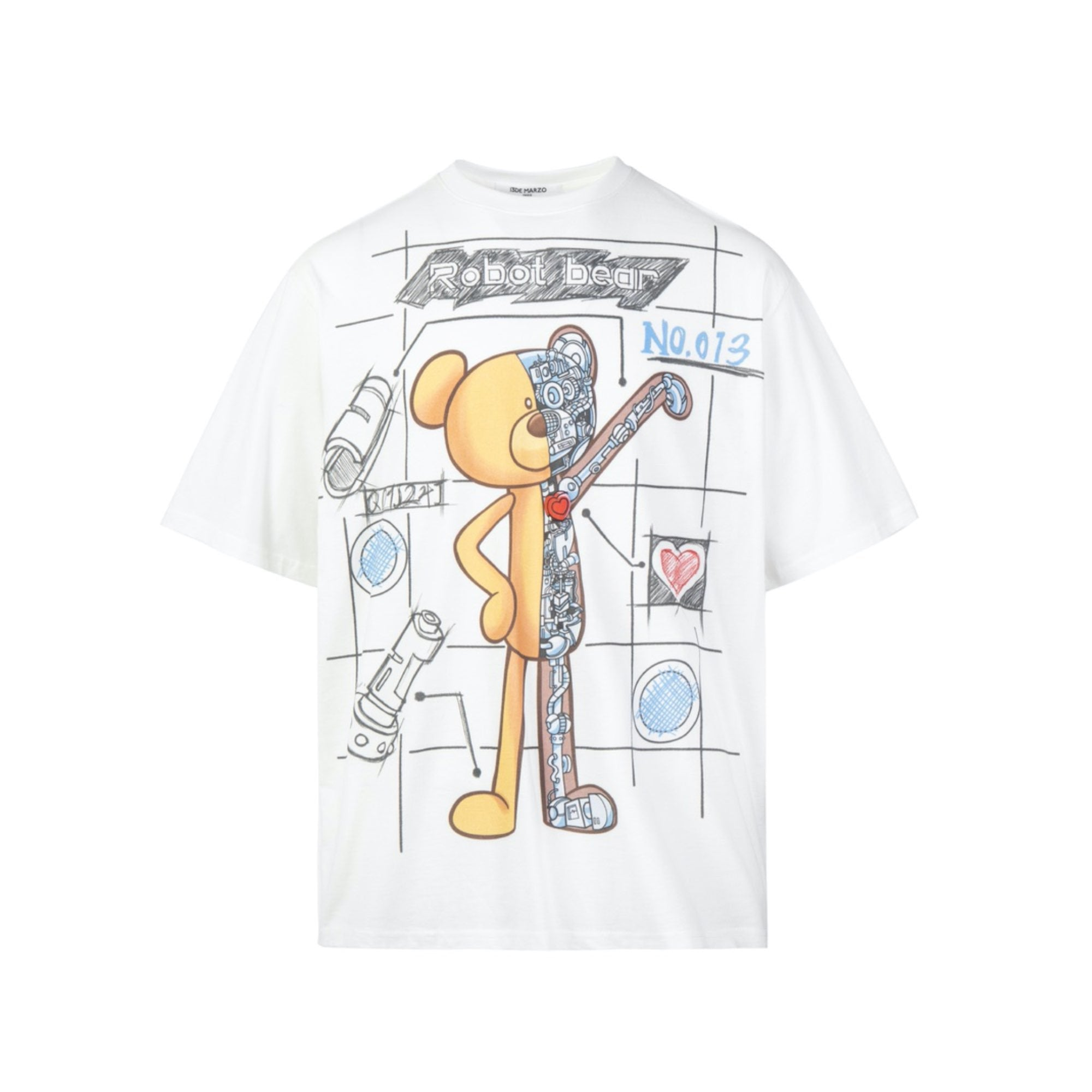 13 DE MARZO Palda Bear Robot Illustrated Tee White | MADA IN CHINA