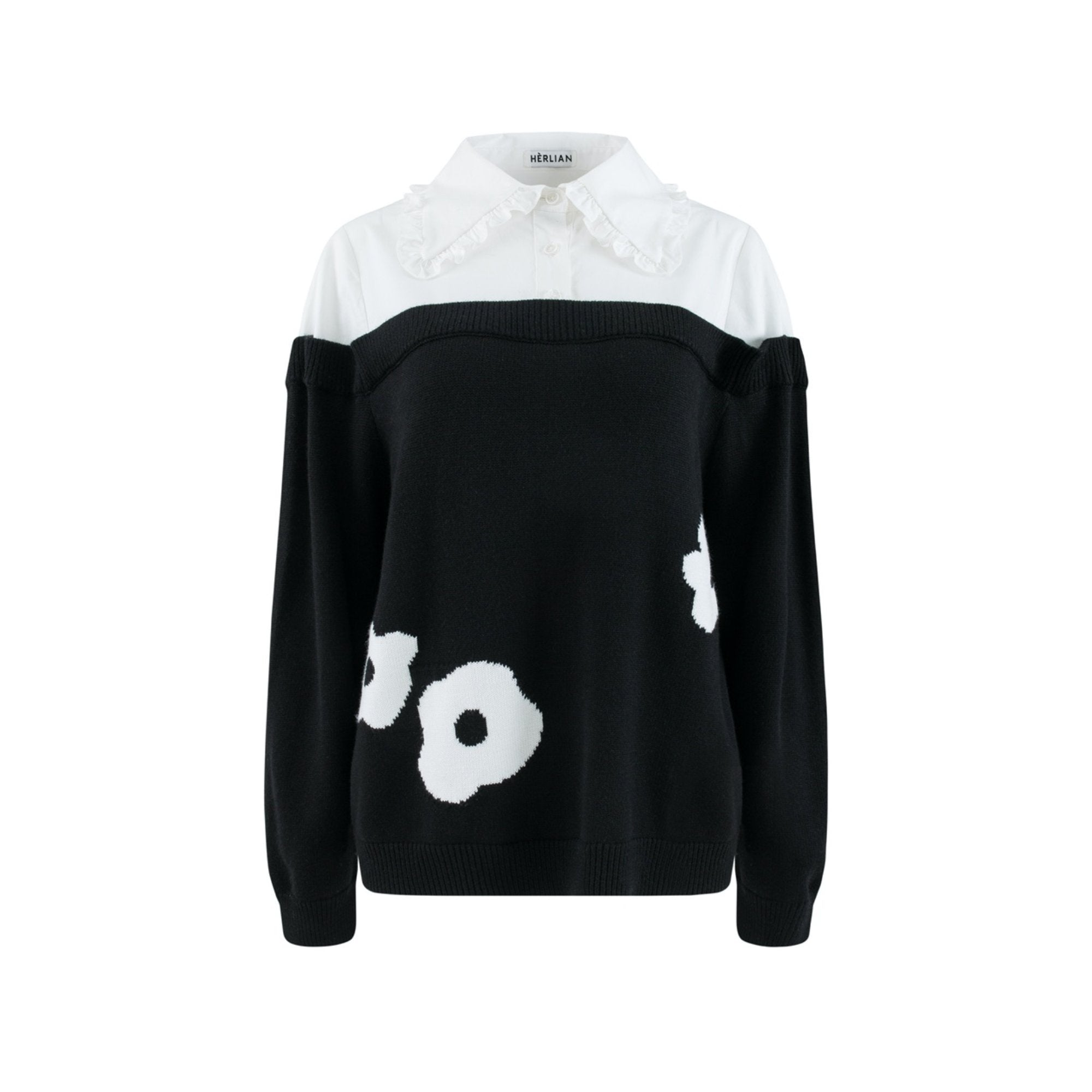 HERLIAN Panelled Shirt Knitted Sweater | MADA IN CHINA