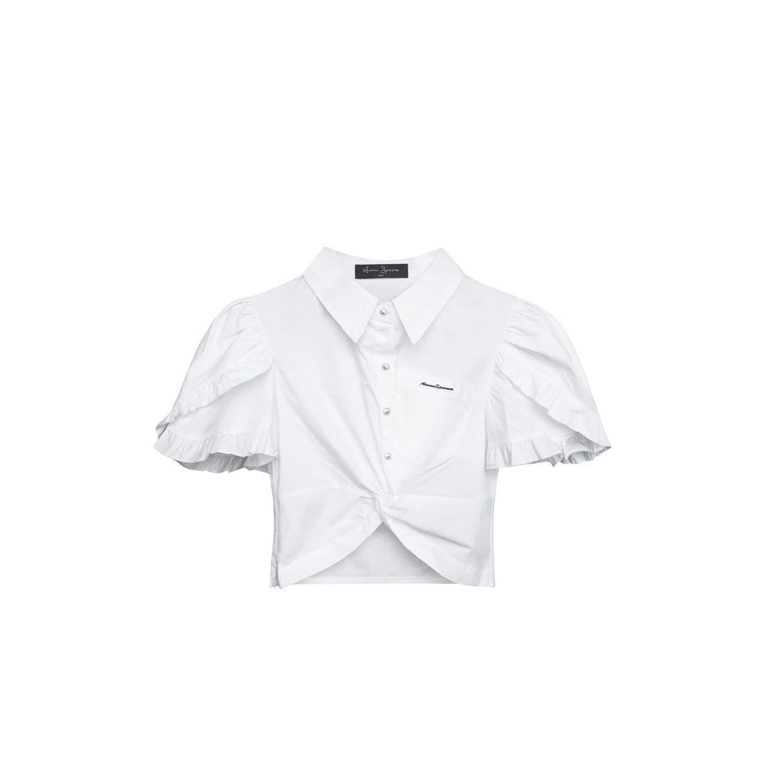 AIMME SPARROW Pearl Bubble Sleeve Shirt | MADA IN CHINA