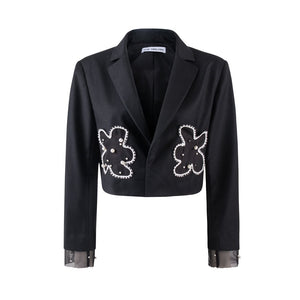 VIAS HERLIAN Pearl Flower Short Blazer Jacket | MADA IN CHINA