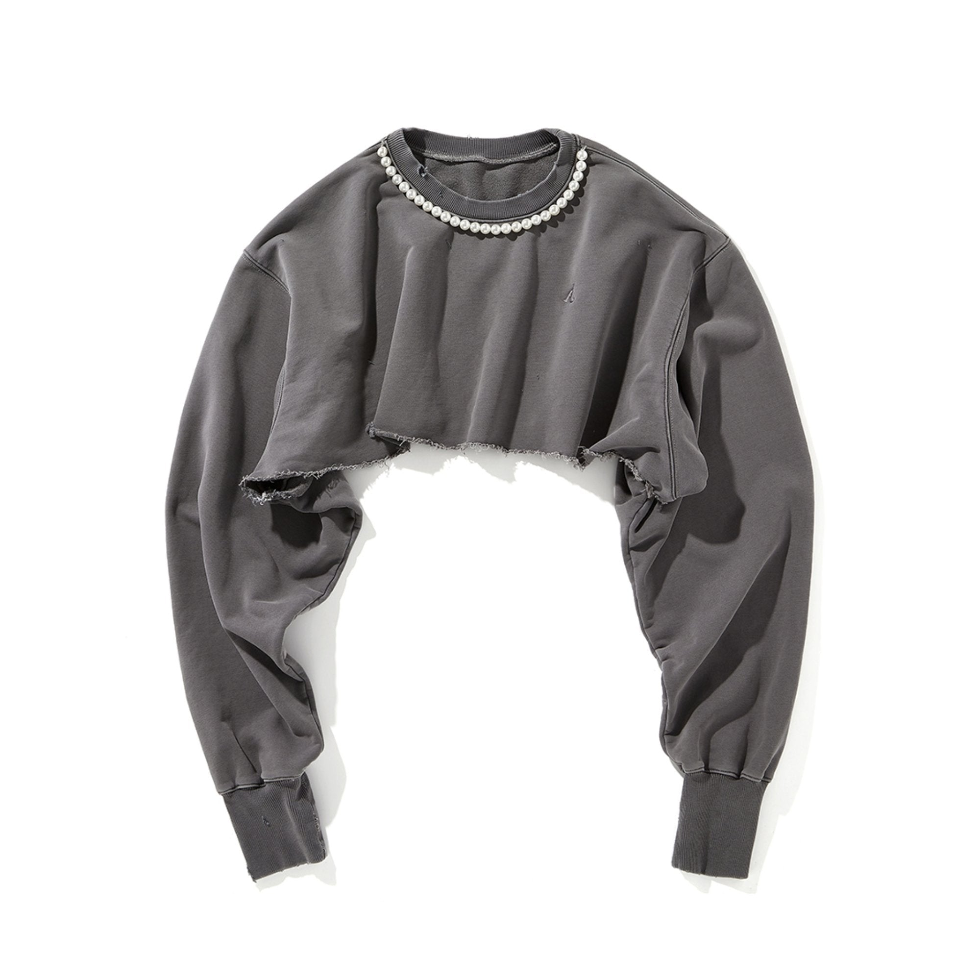 AIN'T SHY Pearl Necklace Crewneck Cold Ash | MADA IN CHINA