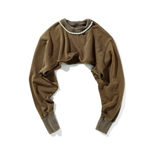 AIN'T SHY Pearl Necklace Crewneck Khaki Brown | MADA IN CHINA