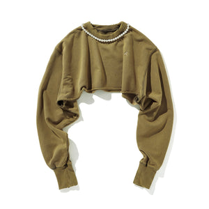 AIN'T SHY Pearl Necklace Crewneck Mustard | MADA IN CHINA