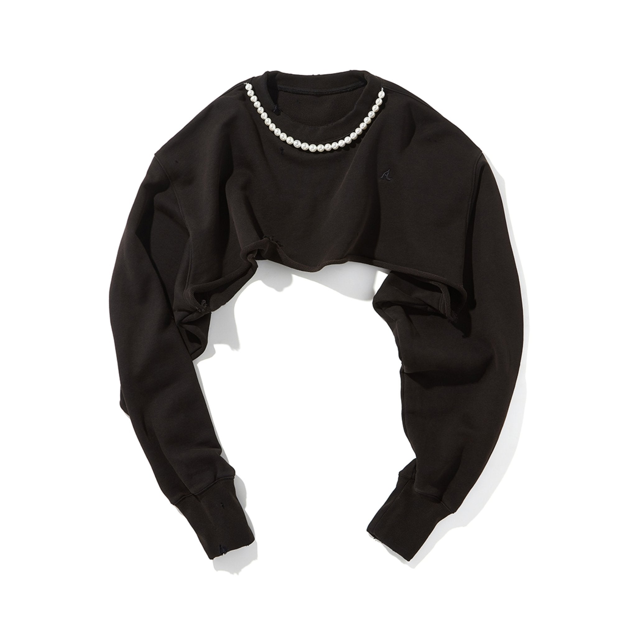 AIN'T SHY Pearl Necklace Crewneck Ore Black | MADA IN CHINA