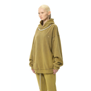 AIN'T SHY Pearl Necklace Hoodie Dark Mustard | MADA IN CHINA